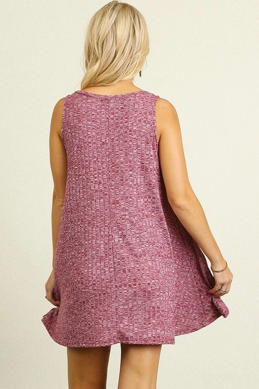 Kayla Sleeveless Sweater Dress in Burgundy