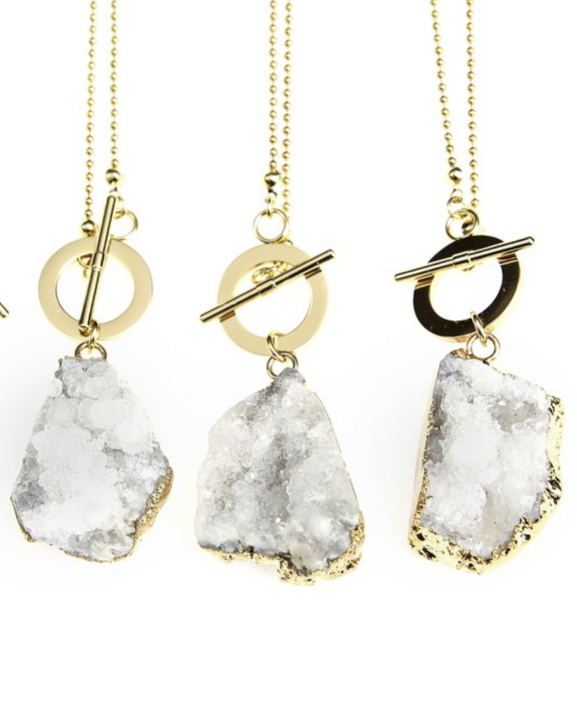 LIMITLESS Crystalline Raw Quartz Necklace in White