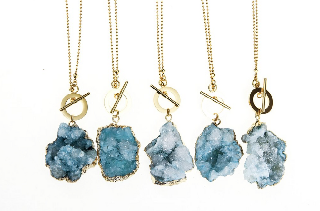 LIMITLESS Crystalline Raw Quartz Necklace in Aqua