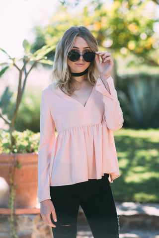 Mandy Ribbed Lace Up Top in Dusty Mauve
