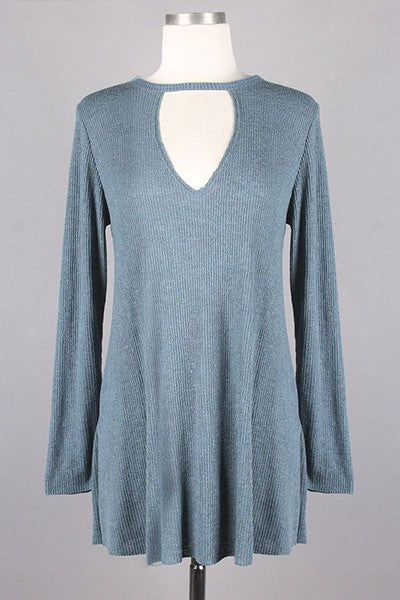 Rey Keyhole Ribbed Top in Antique Blue