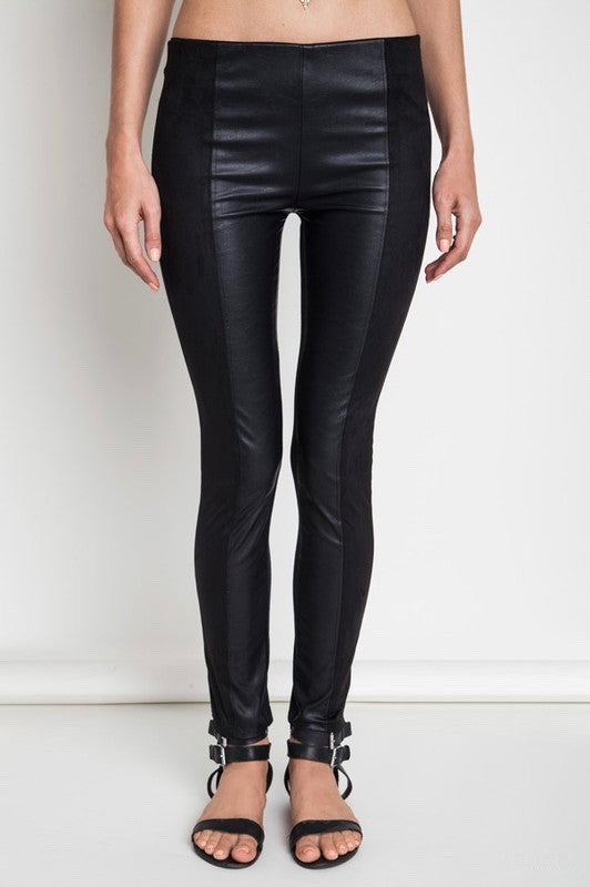 Mixed Materials Leggings