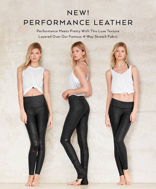 High Waist Moto Legging - Black Performance Leather/Black Glossy - ALO Yoga