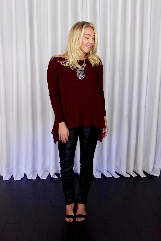 Lydia Chiffon Panel Sweater in Burgundy