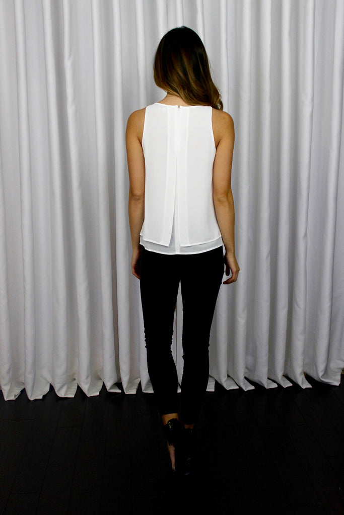 Not-So-Basic Layered Chiffon Top in White