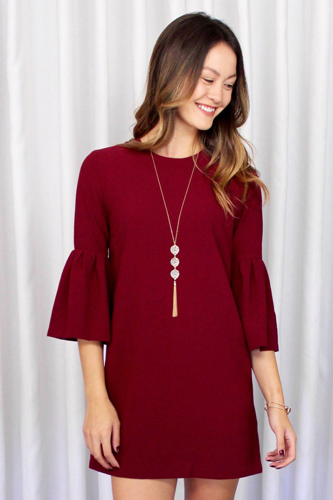 Willow Fluted Sleeve Dress in Burgundy