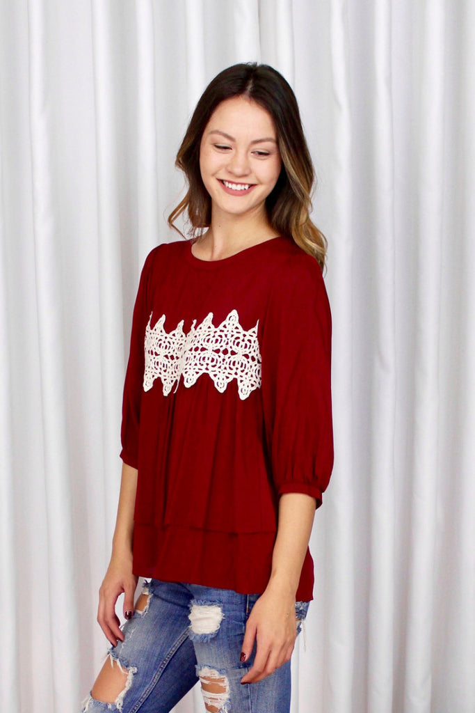 Burgundy Lace Applique Blouse