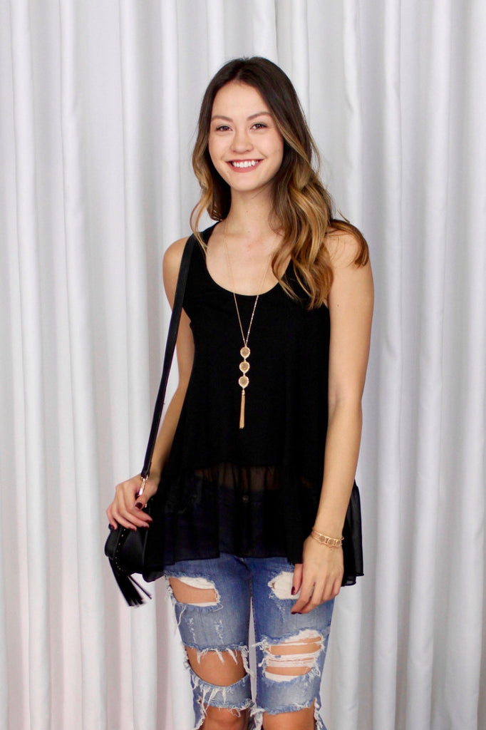 Essential Tank with Chiffon Panel in Black