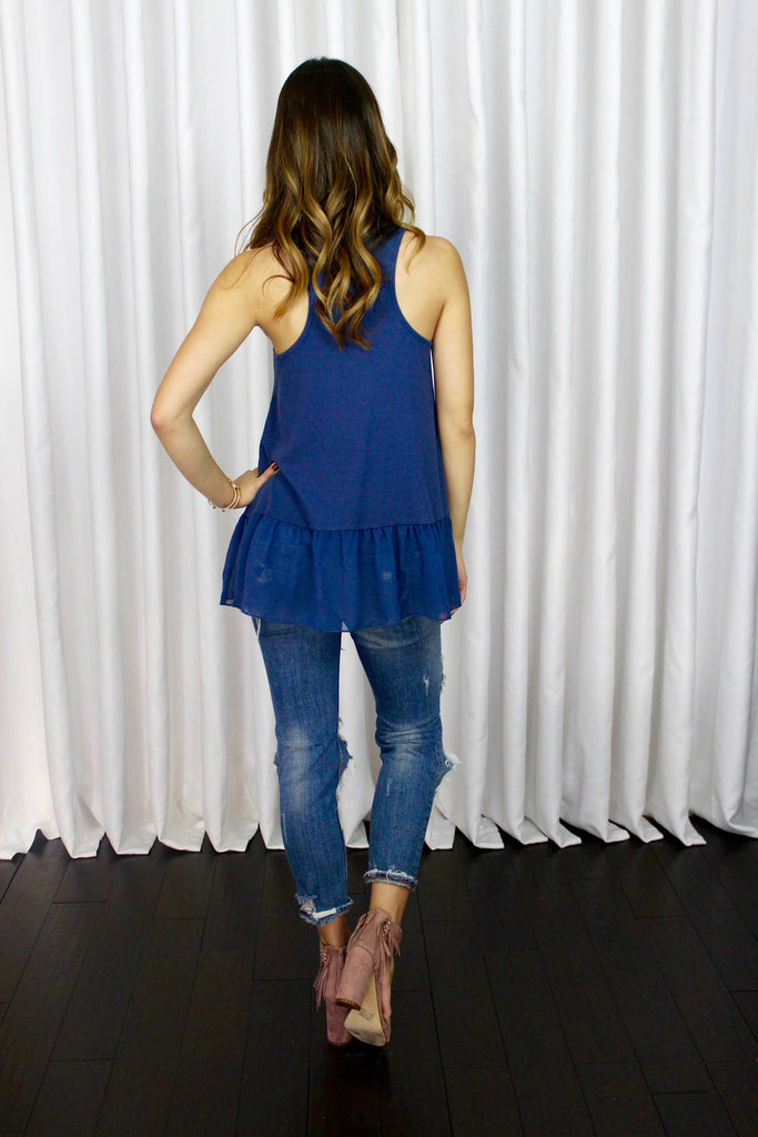 Essential Tank with Chiffon Panel in Blue