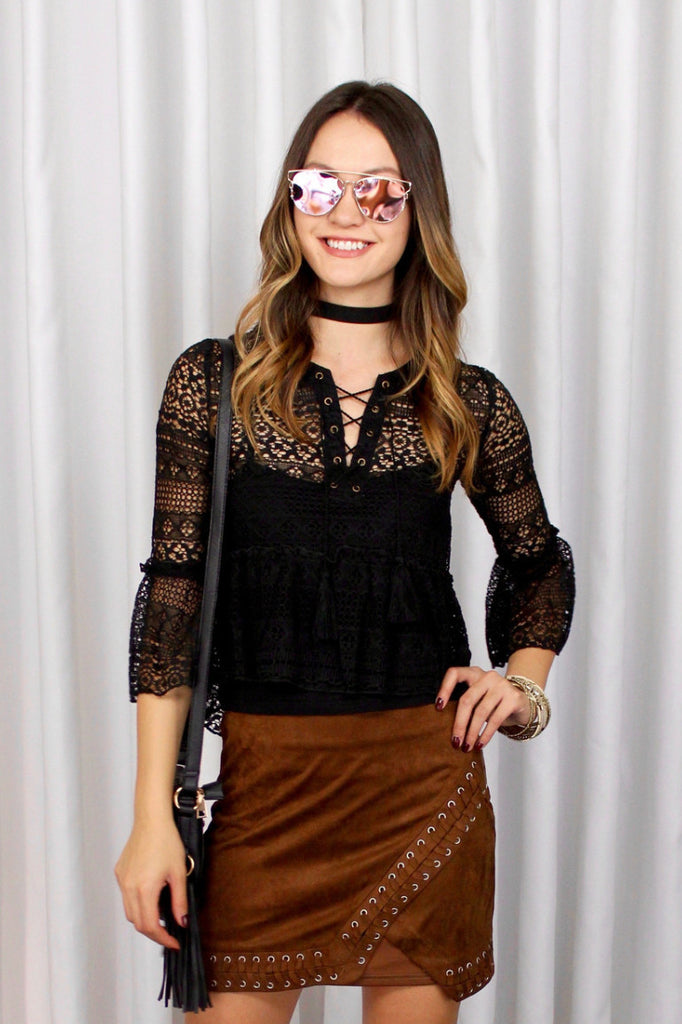 Alison Lace Top in Black