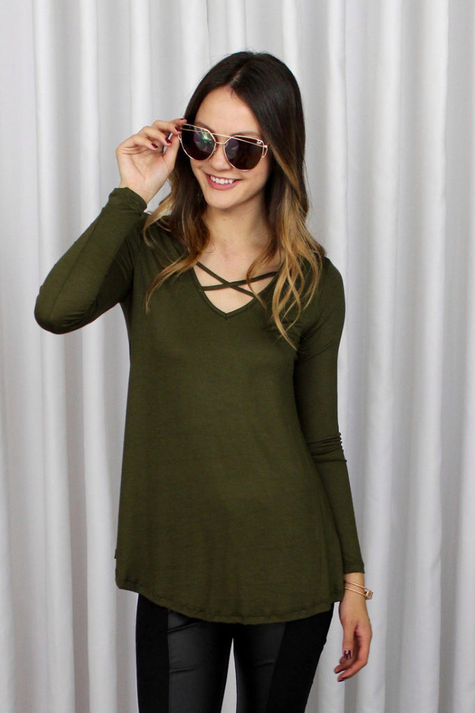 Brittany Soft Long Sleeve Top in Olive