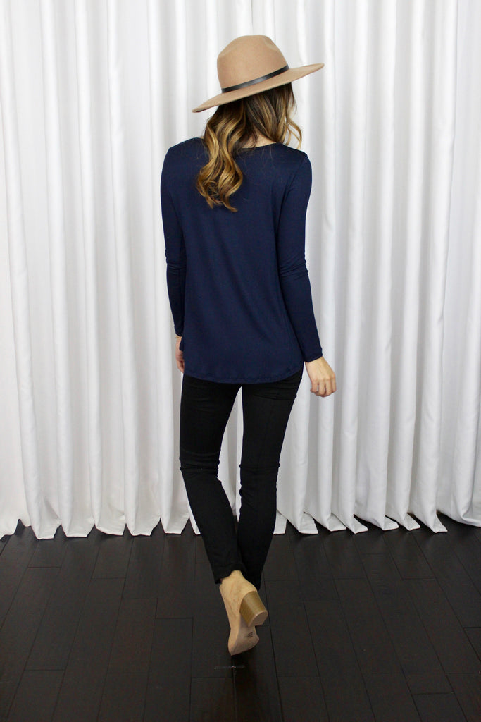 Brittany Soft Long Sleeve Top in Navy