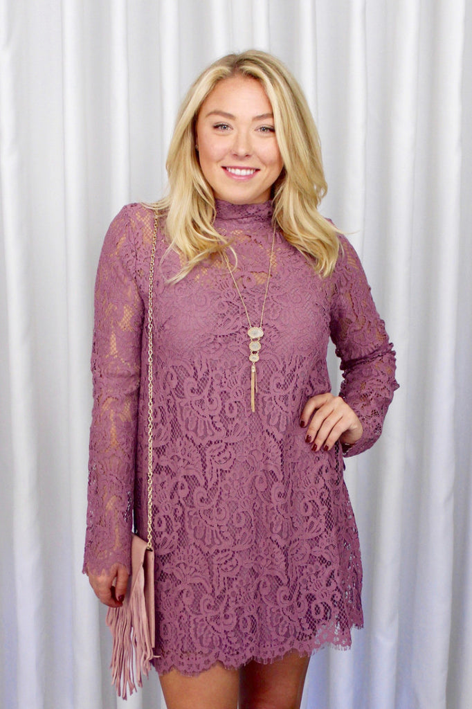 Juliet Lace Dress in Pink Lipstick
