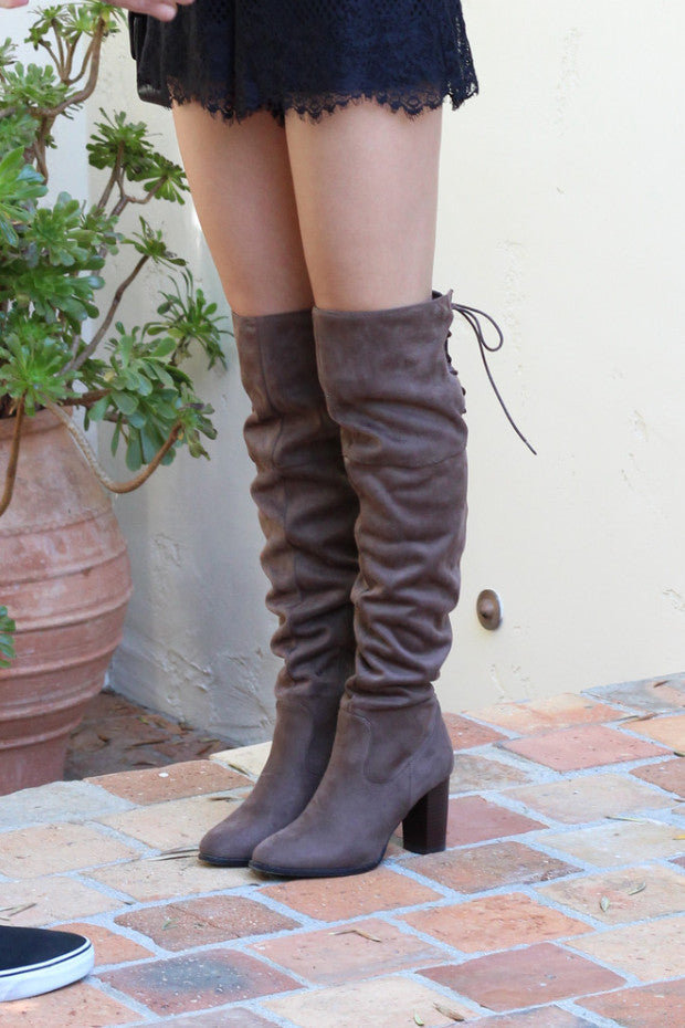 Hayden Over-the-Knee Boots in Taupe