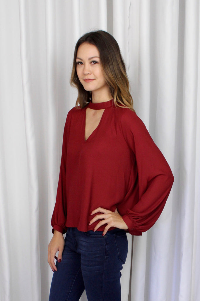 Darcy Keyhole Blouse in Red Rose
