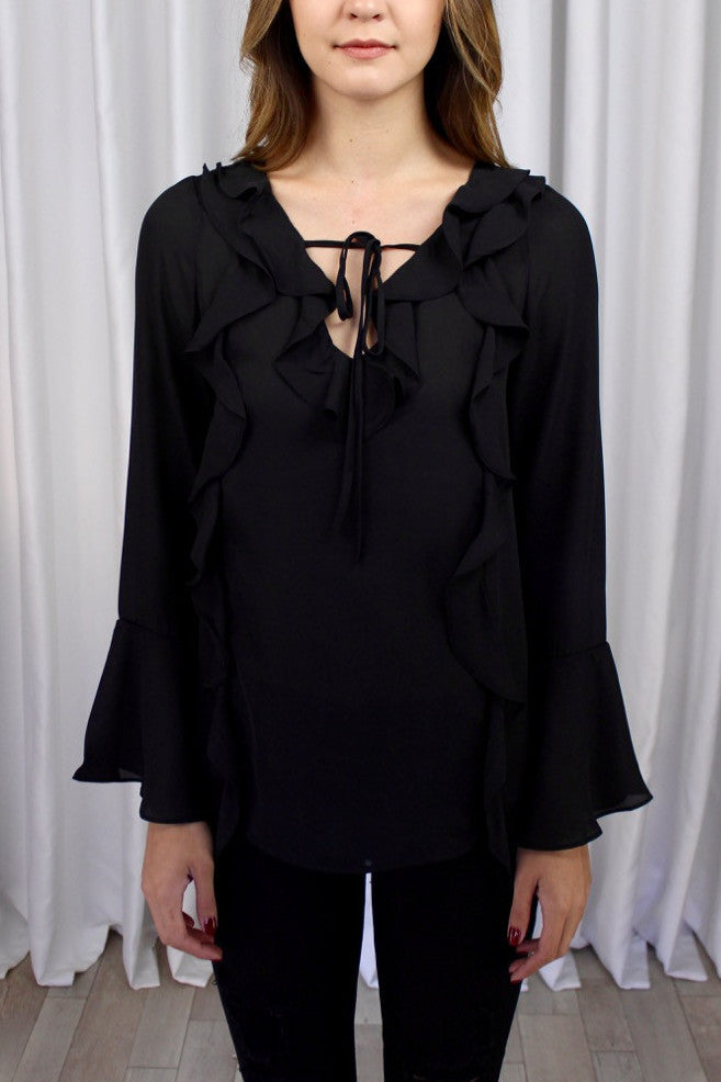 Reagan Ruffle Top in Black