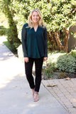 Gabrielle Snake Print Top in Jade