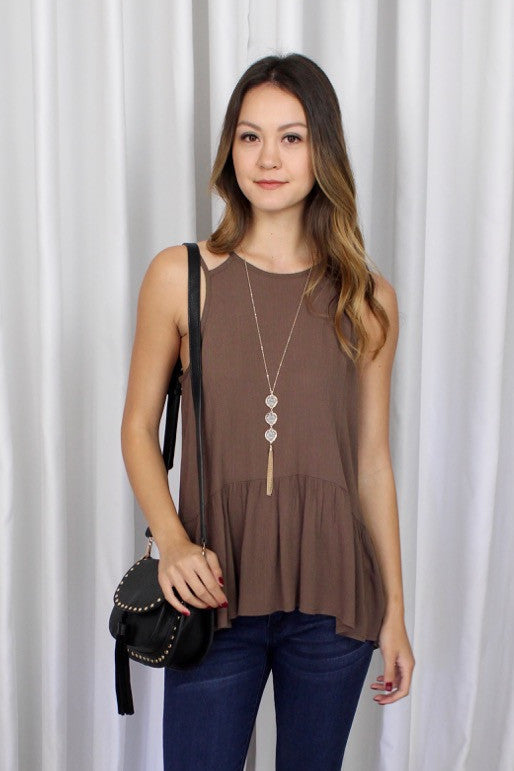 Elisa Lace Ladder Back Top in Mocha