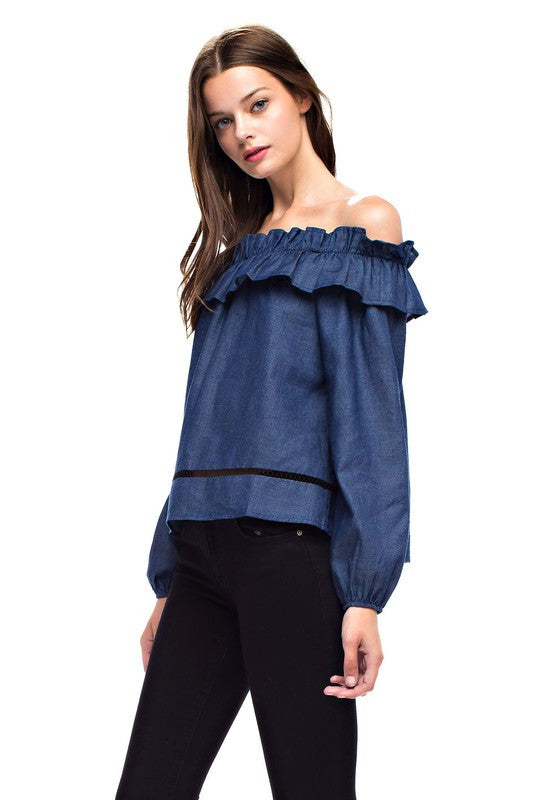Milo Denim Off Shoulder Top
