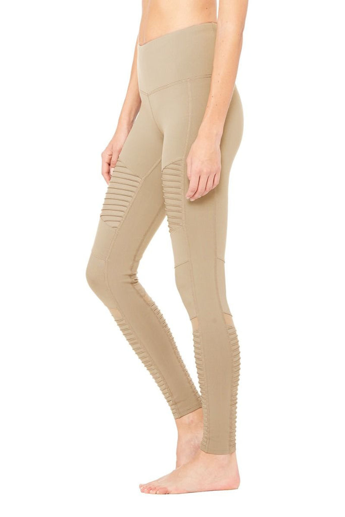 High Waist Moto Legging in Gravel/Gravel Glossy - ALO Yoga