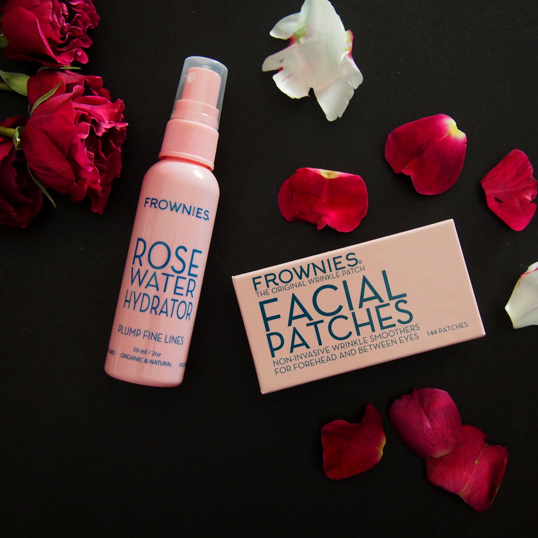 Wrinkle Facial Patches: Forehead and Between Eyes + Rose Water Hydrator set by Frownies