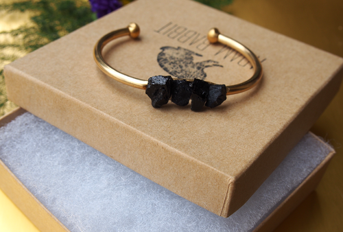 Black Tourmaline Brass Cuff  by Adam Rabbit