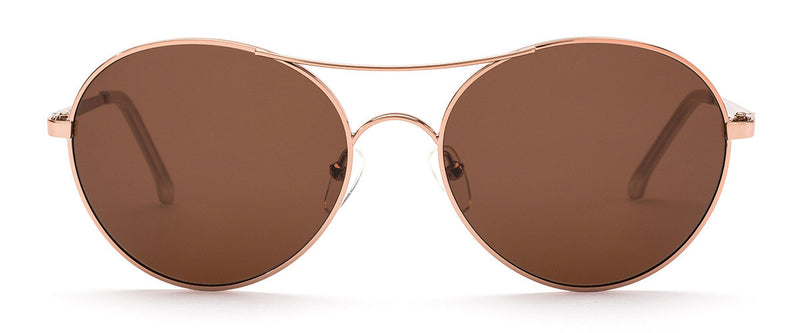 Memory Lane Rose Gold Round Sunglasses