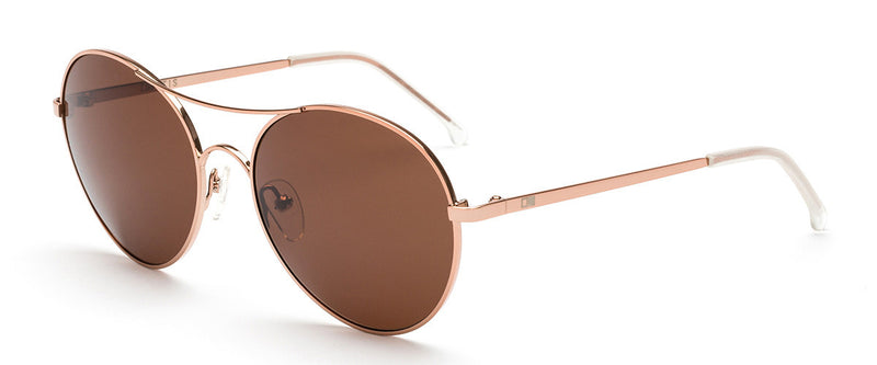 Memory Lane Rose Gold Round Sunglasses Angle 1