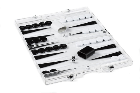 "1631A- 18"" Clear Lucite Backgammon in Black and white"
