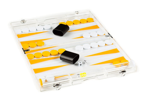 "1634A- 18"" Clear Lucite Backgammon Set in Yellow and White"