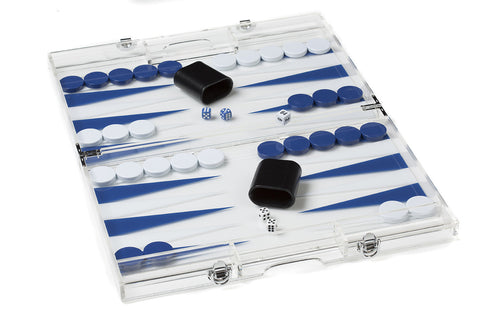 "1644A- 18"" Lucite Backgammon Set in Dark Blue and White"