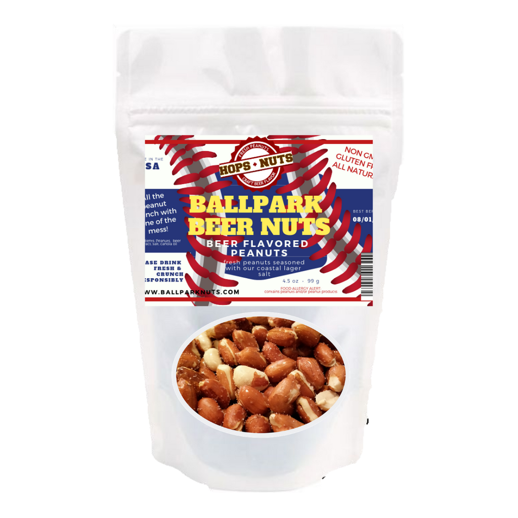 BALLPARK Beer Salt Roasted Peanuts - 4.2 oz POUCH - Craft Roasted Peanuts
