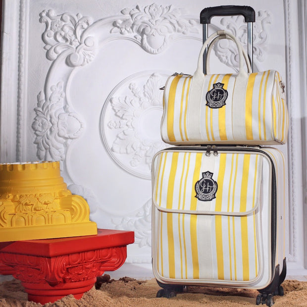 Yellow Stripe Luggage Set