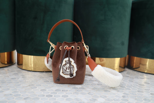 Coated Fur Courchevel Mini Bucket Bag