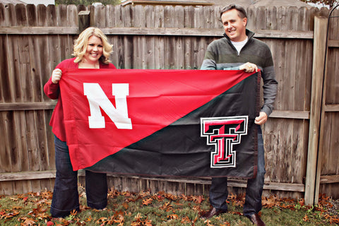 Nebraska Texas Tech House Divided Flag