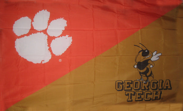 Georgia Tech & Clemson House Divided Flag