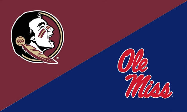 Florida State & Ole Miss House Divided Flag