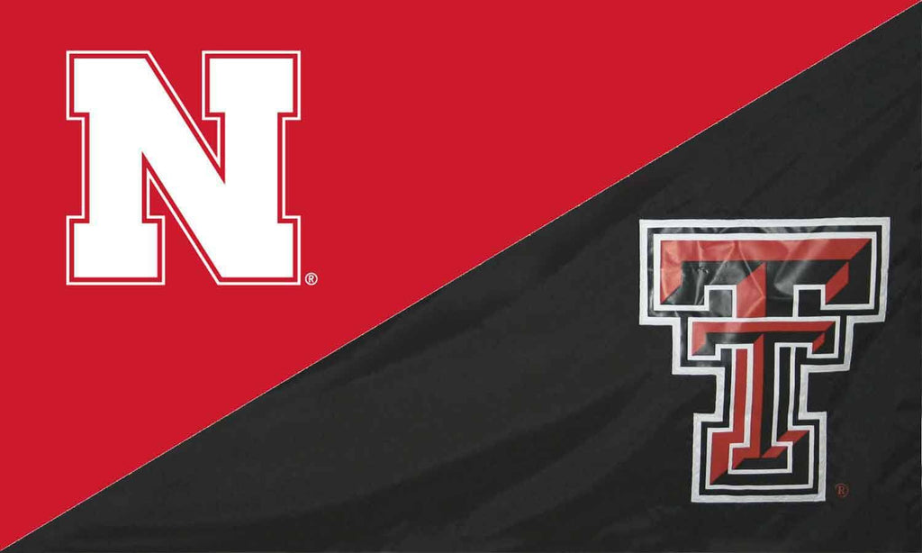 Nebraska & Texas Tech House Divided Flag