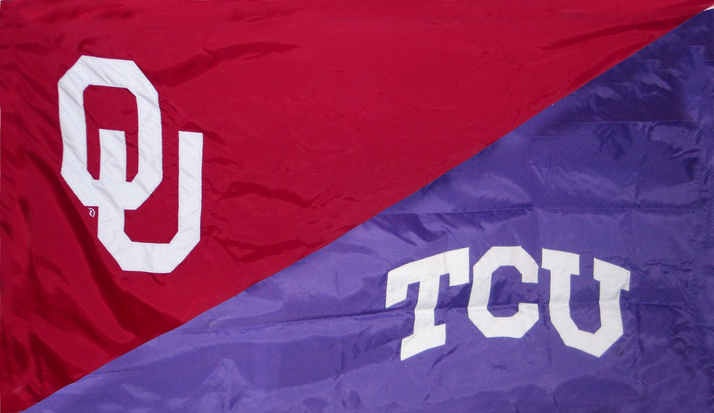 Oklahoma & TCU House Divided Flag