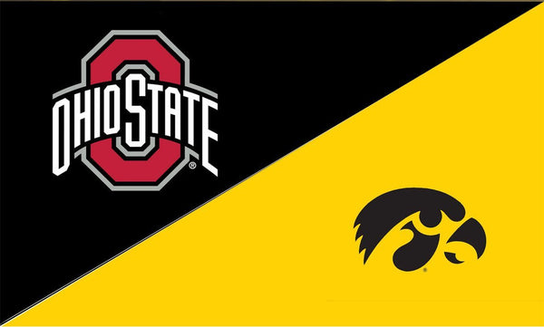The Ohio State University and Iowa House Divided Flag