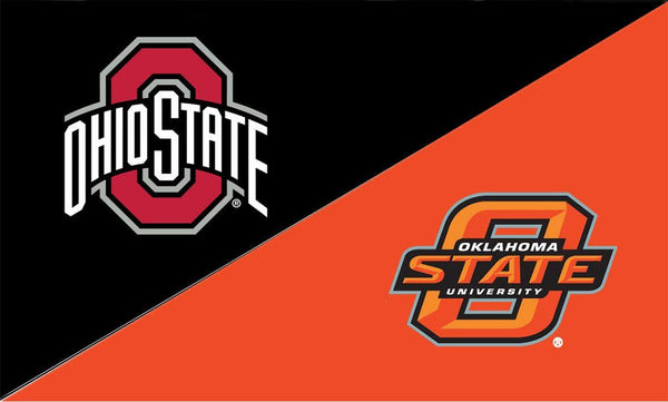 The Ohio State University and Oklahoma State House Divided Flag