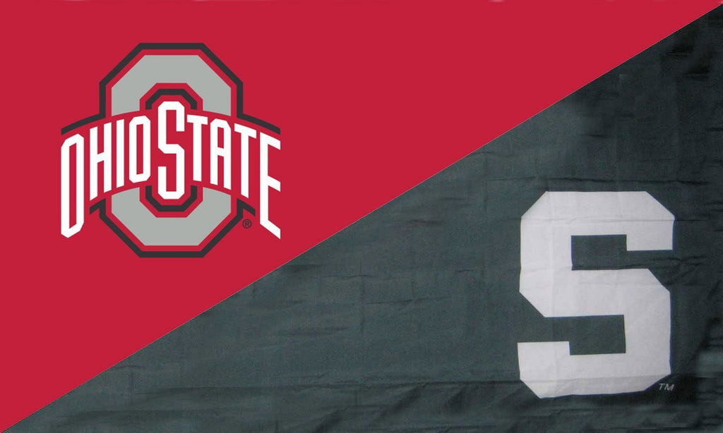 Bon The Ohio State University And Michigan State House Divided Flag