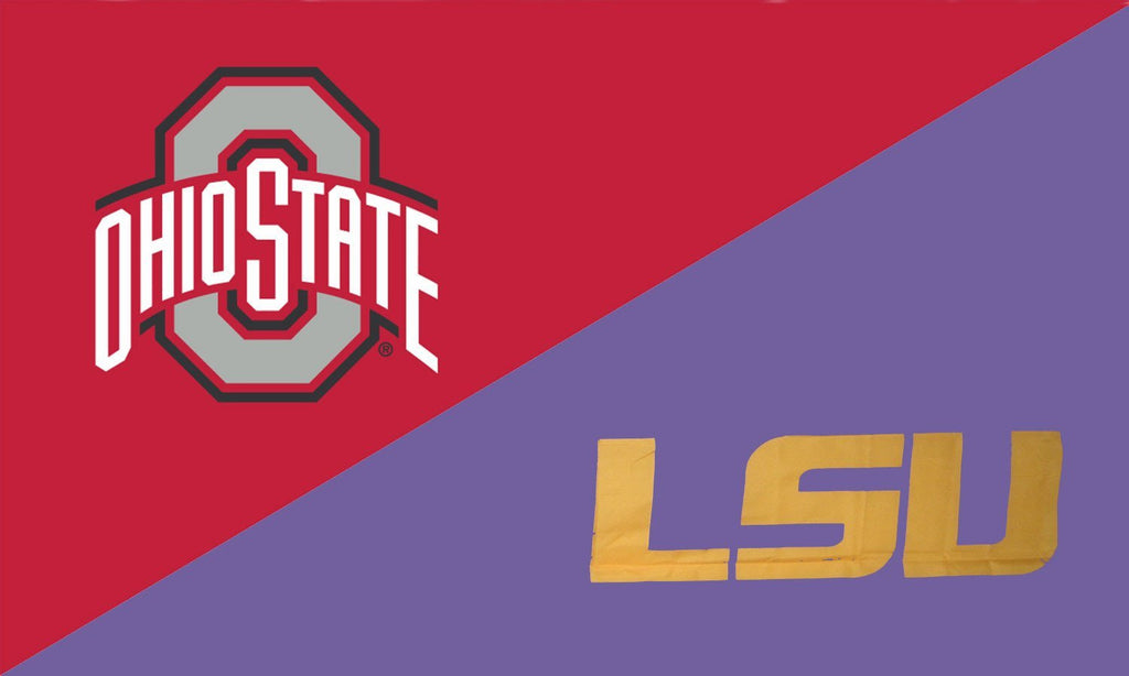 The Ohio State University and LSU House Divided Flag