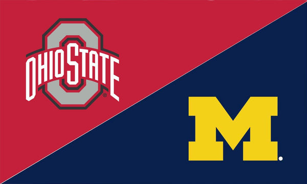 The Ohio State University and Michigan House Divided Flag