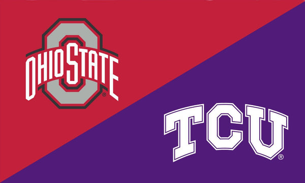 The Ohio State University and TCU House Divided Flag