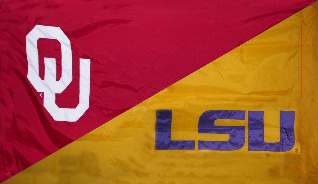 Oklahoma & LSU House Divided Flag