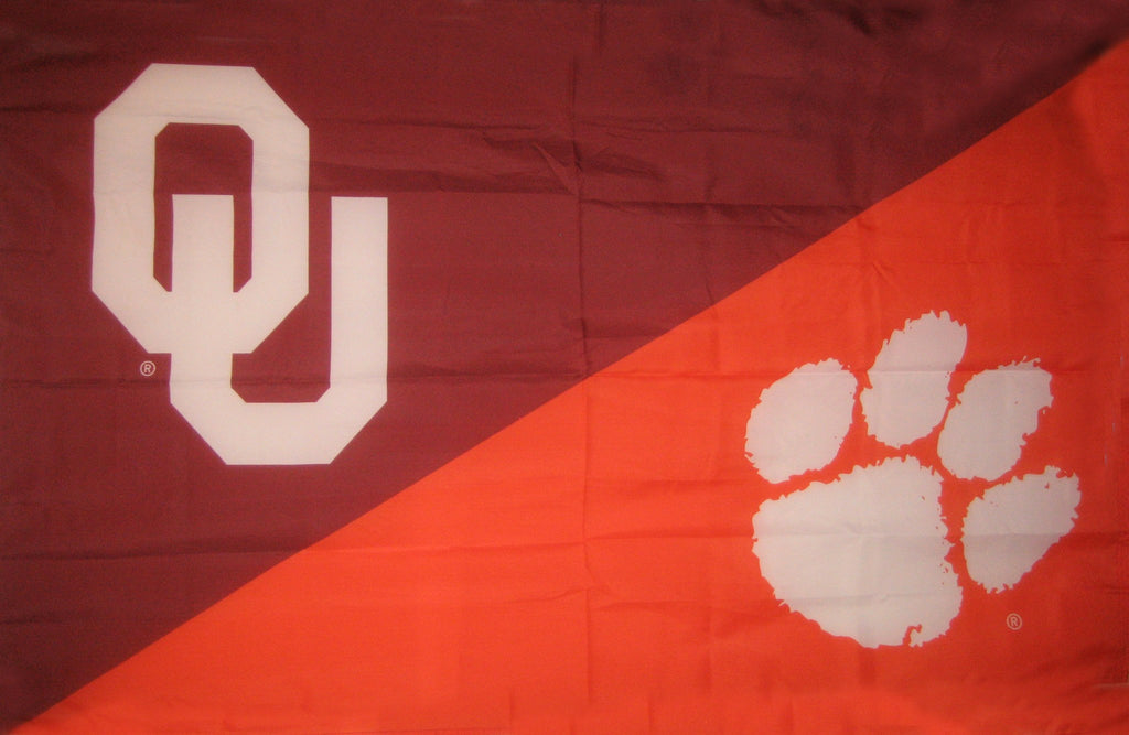 Oklahoma & Clemson House Divided Flag