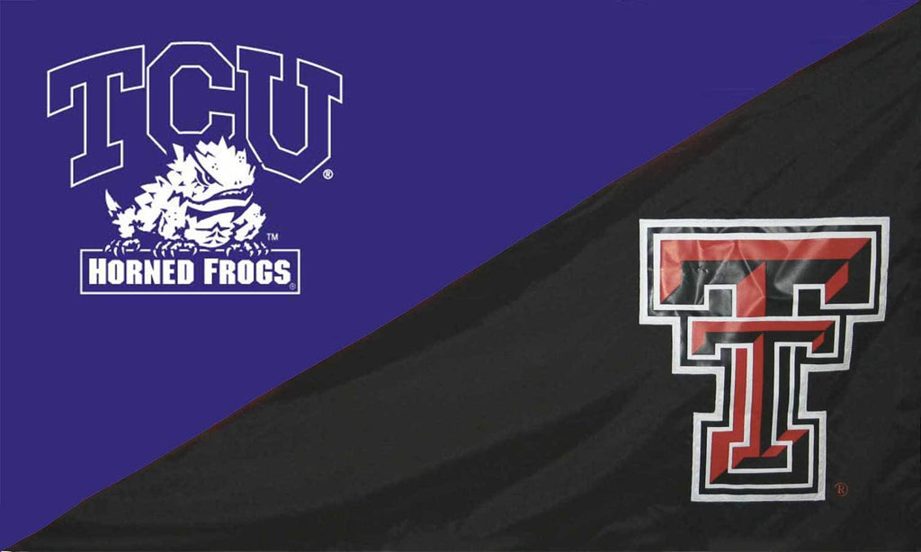 TCU and Texas Tech Silk Screened Flag