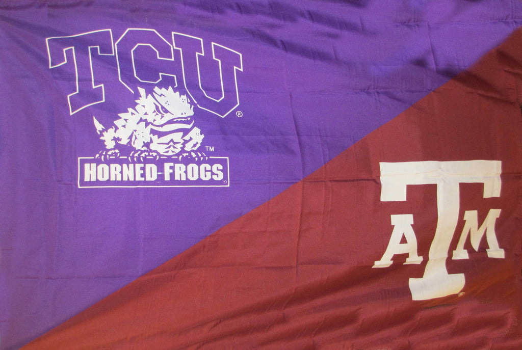 TCU and Texas A&M Silk Screened Flag