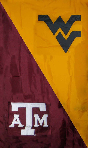 Texas A&M & West Virginia House Divided Banner Flag